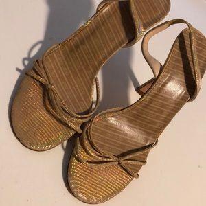 Jimmy Choo gold tone glittery heels size 36.5